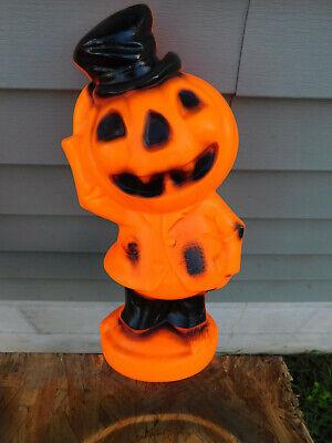 Vintage Empire 1969 Halloween Lighted Blowmold Hobo Pumpkin Man