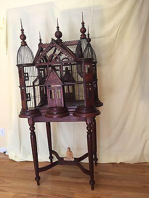 MAGNIFICENT Mahogany Bird Cage Victorian on Custom Table