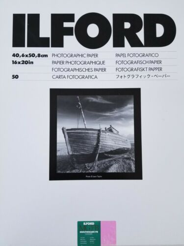 """Ilford MGFB Classic 16"""" x 20"""" Baryta Double-Weight Glossy photo paper. Box of 50"""