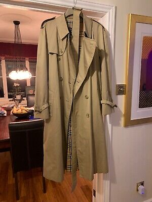 Men's Burberry Classic Trench Rain Coat Authentic 52 Long - Used But In VGC