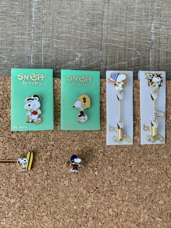1970s Snoopy Jewelry Pins, stick Pins, lapel pin and tie clip.
