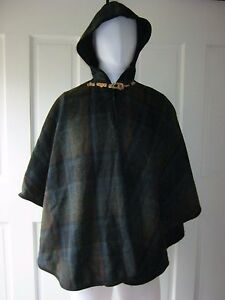 Vintage Wool Tartan Plaid Scotch Rope Hook & Loop Hooded Cape Shawl Wrap Poncho