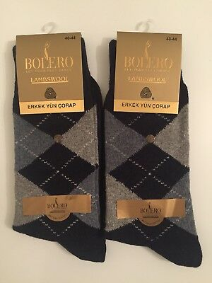 Argyle Thermal - Lambswool  Men's Winter Warm Thermal Crew  Argyle Wool Dress Socks Navy 2 Pairs