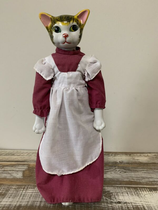 Vintage Porcelain Cat Head Doll Stuffed Cloth Body - 16""