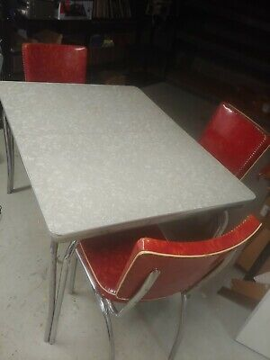 Vintage Chrome Table - Vintage Retro Chrome Formica Kitchen Table & 6 Chairs w/ Integrated Leaf 1950's