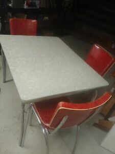 Vintage Retro Chrome Formica Kitchen Table & 6 Chairs w/ Integrated Leaf 1950's