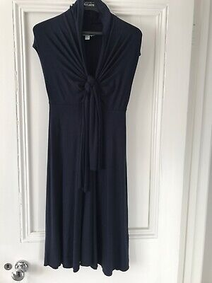 hoss intropia Navy Blue Front Tie Fit Flare Dress Size ES