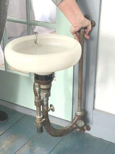 C.1930 Pelton & Crane SURGICAL CUSPIDOR, Milk Glass Bowl, Adjustable, RePurpose