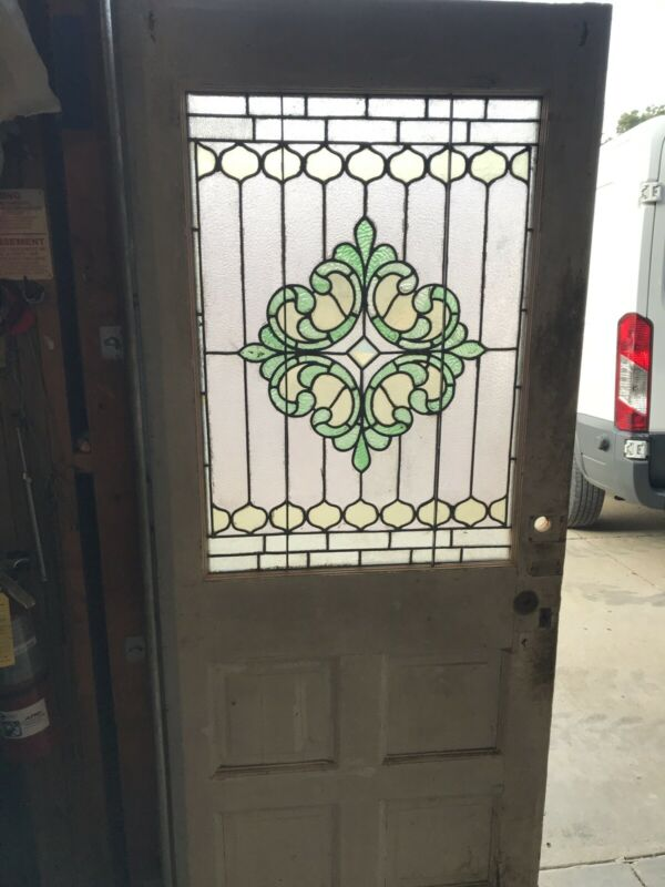 An 612 Antique Stained Glass Entrance Door 31.75 X 79 X 1 3/8