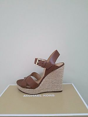 MICHAEL Michael Kors Women's Viola Espadrille Leather Wedge Sandal Size 8.5 NIB