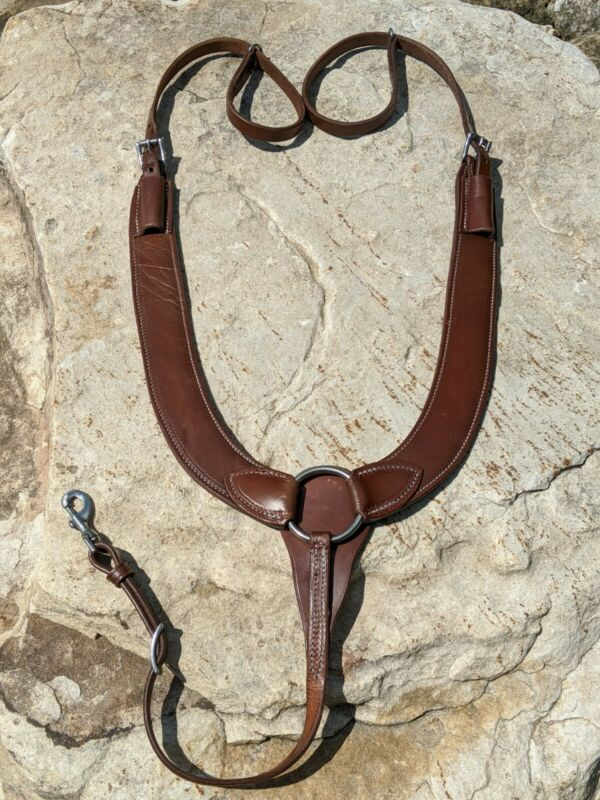 New Hot Oiled Leather Pulling Breast Collar. Amish Made, Horse Tack