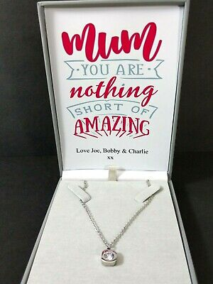 Personalized Mother Day Gifts (Mothers Day Keepsake Dainty CZ Charm Necklace For Mum Personalised Gift Box)