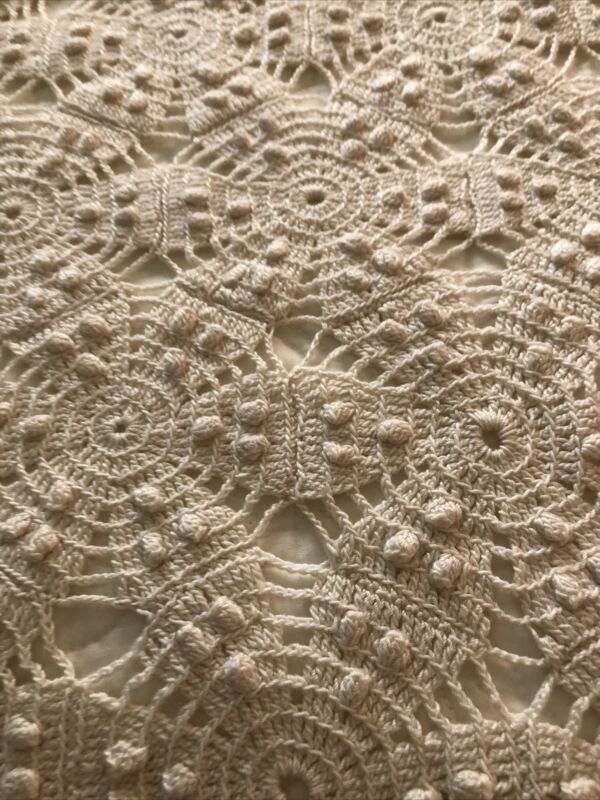 "Lovely Vintage Antique Hand Crocheted Ecru Lace Coverlet Throw 84"" X 84"" RR"