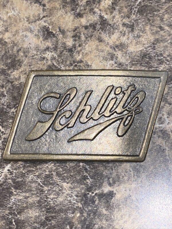 1970s Vintage Schlitz Beer Liquor Brewing Company Brass Belt Buckle