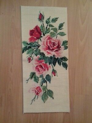 "Vintage Pink & Red Roses Wool Tapestry on Cream Background Size 10.5"" x 24"