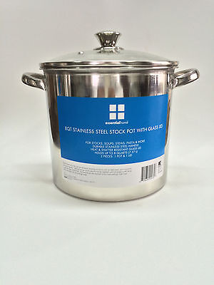 Essential Home 8 Quart Stock Pot with Glass Lid Free Shipping New