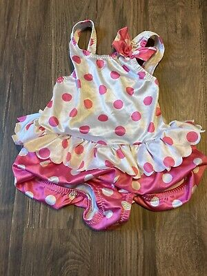 Vintage Cole Of California Toddler Girls Pink White Polka Dot Swimsuit Size 3t