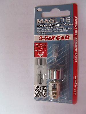 Maglite LMXA301 Magnum Star II Mag Xenon 3 Cell C or D Bulb PACKAGE OF 2   New