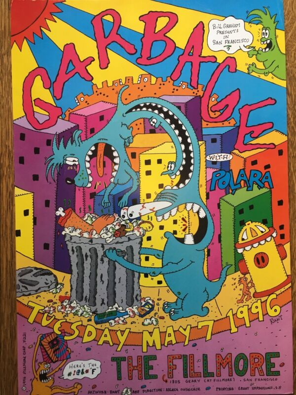 Garbage The Fillmore 1996 Concert Rare Promo Telephone Pole Poster