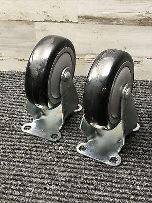 Lot Of 2 - Sc 4 Wheel Casters Heavy Duty Non Swivel 3-12 X 2-12 Base