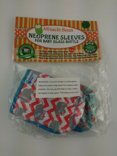 Miracle Bean Neoprene Sleeves for 8Oz Baby Bottles 2 Pack - Foxes and Elephants