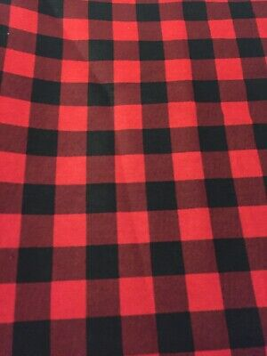 NEW Black Red BUFFALO Plaid Fabric By the Half Yard 100% - Buffalo Plaid Fabric