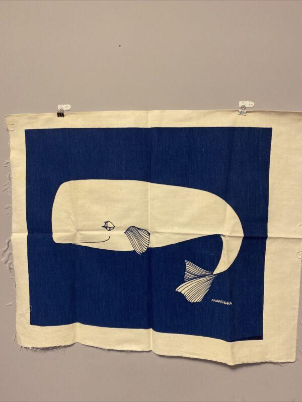 "Vintage Marushka Art Print Textile Whale 26"" By 21"""