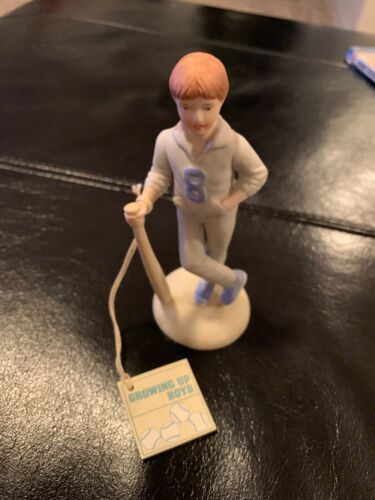 1983 Enesco GROWING UP BOYS Birthday Boy AGE 8 Baseball Porcelain Figurine MINT