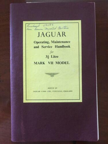 Original Vintage Jaguar Mark II Maintenance and Service Handbooks