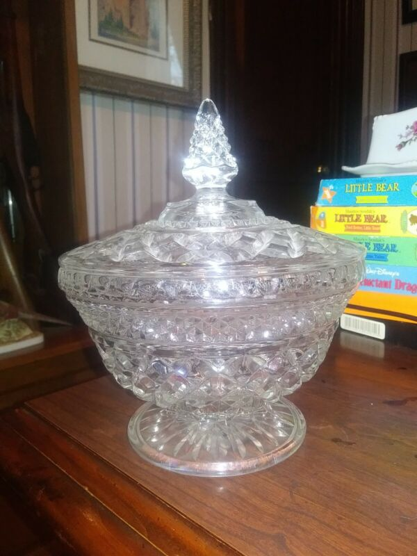 Vtg Anchor Hocking Wexford Pattern Covered Pedestal Candy Dish W/ Lid FREE SHIP