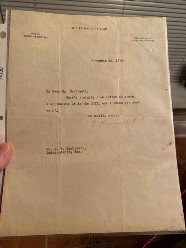 Theodore Roosevelt Autographed Vintage Letter Signed Nov 1918 Kansas City Star