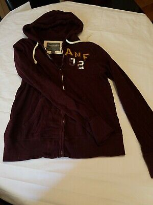 Mens ABERCROMBIE & FITCH New York Zip Up Hoodie Jacket Sz L Maroon