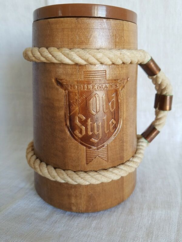 "Vintage""OLD STYLE""Wood Beer Stein Cup Mug w/Rope & Copper Handle"