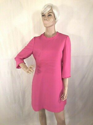 """KATE SPADE NEW YORK """"LOOK FOR THE SILVER LINING"""" HOT PINK SHIFT DRESS SIZE 8"""