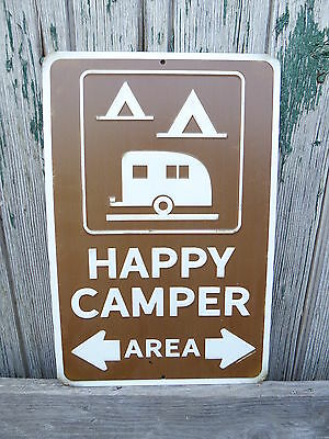 HAPPY CAMPER AREA Vintage Style TRAILER Camping Mancave Garage Shop = Metal Sign