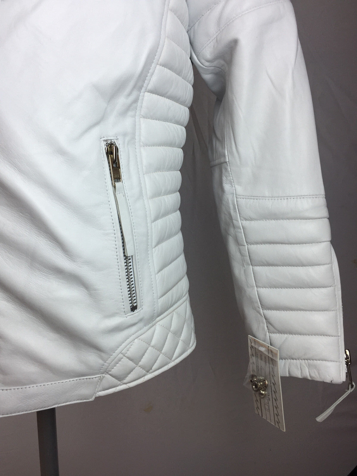 bf10e626d Мужская верхняя одежда MENS GENUINE LAMBSKIN LEATHER BIKER JACKET  MOTORCYCLE STYLE WHITE (ALL SIZE) NWT