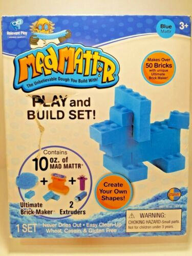 Mad Mattr Blue Play And Build Set, Ultimate Brick Maker, Never Dry Dough