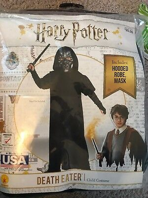 Harry Potter DEATH EATER child's costume NEW incl Hooded robe, mask sz 8-10
