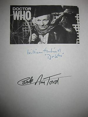 Doctor Who Signed TV Pilot Script 1963 William Hartnell Carole Ann Ford reprint