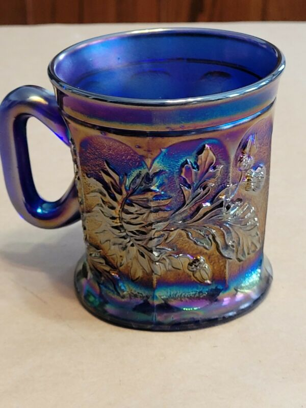 Electric Blue Northwood Carnival Glass Dandelion Mug Awesome Color
