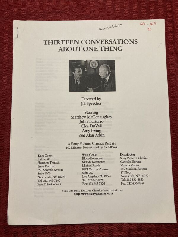 Thirteen Conversations About One Thing Production Notes 2001 McConaughey