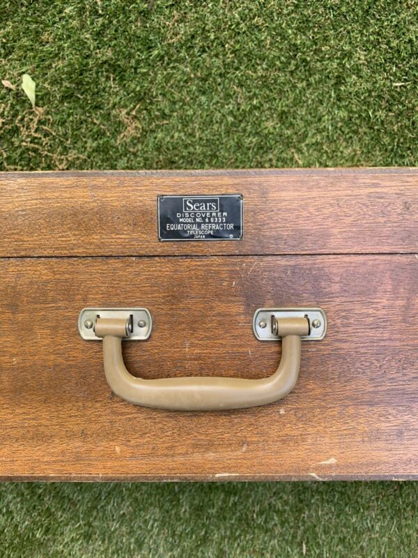 Vintage Sears Discoverer Equatorial Refractor Telescope 4-6333-A Wood Box