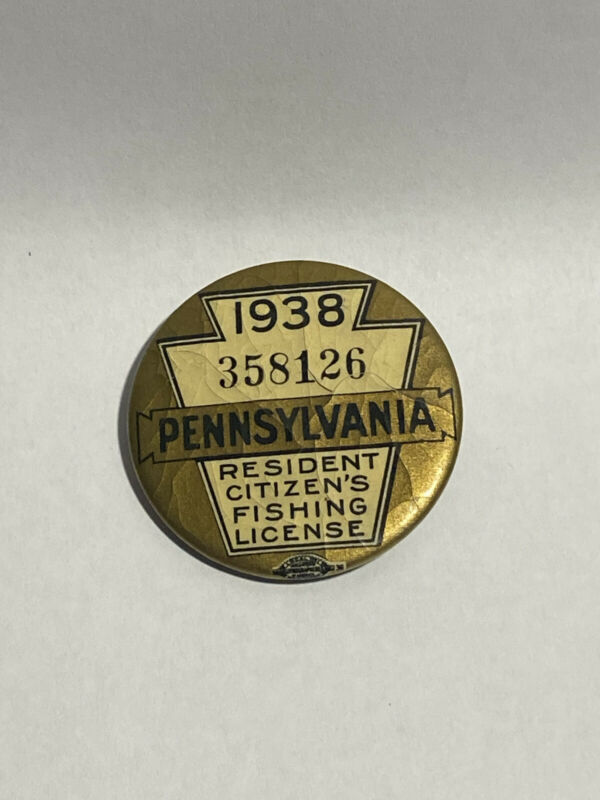 Vintage 1938 PA Pennsylvania Resident Celluloid Fishing License Button & Paper