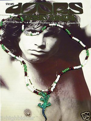 "21"" Jim Morrison Lizard King Pendant Bead Necklace Orig Green White The Doors"