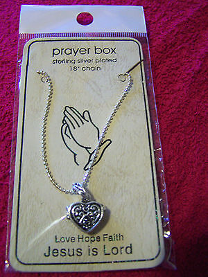 New Womens Heart Shaped Prayer Box Pendant 18  Necklace Sterling Silver Plated