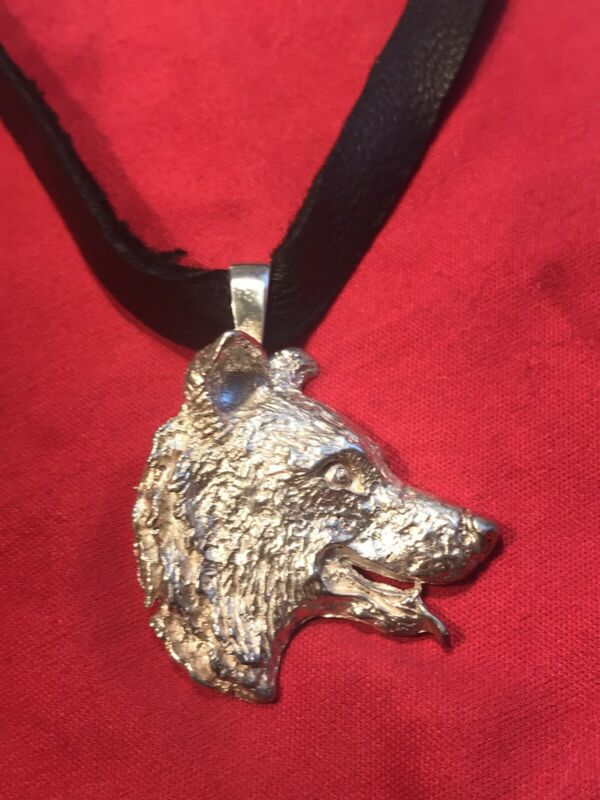 BORDER COLLIE STERLING SILVER PENDANT ON LEATHER CORD - HEAVY 18.9 GRAMS