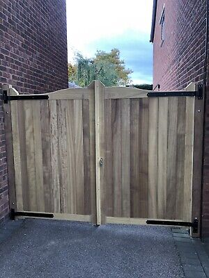 Iroko Hardwood Gun Barrel Style Driveway Gates 4ft High X 10 Ft Wide