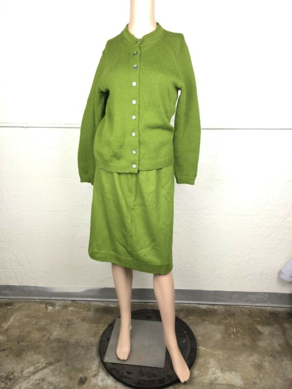 Jantzen Knit Suit Sweater Skirt Women Size 36 Button Cardigan Matching Set 1950s