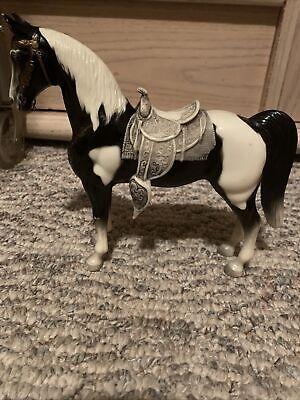 RARE VINTAGE BREYER WESTERN HORSE PONY #41 BLACK & WHITE ORIGINAL Saddle