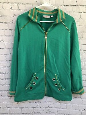 Used, Quaker Factory Women's Full-Zipper Green Gold Top Jacket- Size S for sale  Hartville